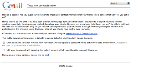 Google's warning to Facebook users
