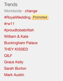 Trending topics on Twiter