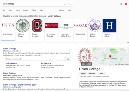 This is a screenshot of a google search for union