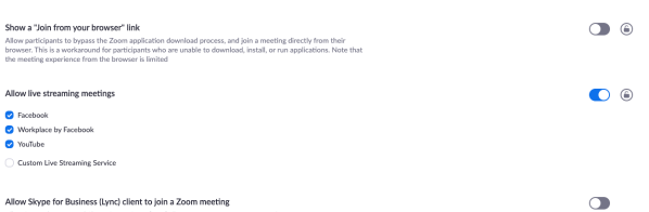 Allow live streaming meetings